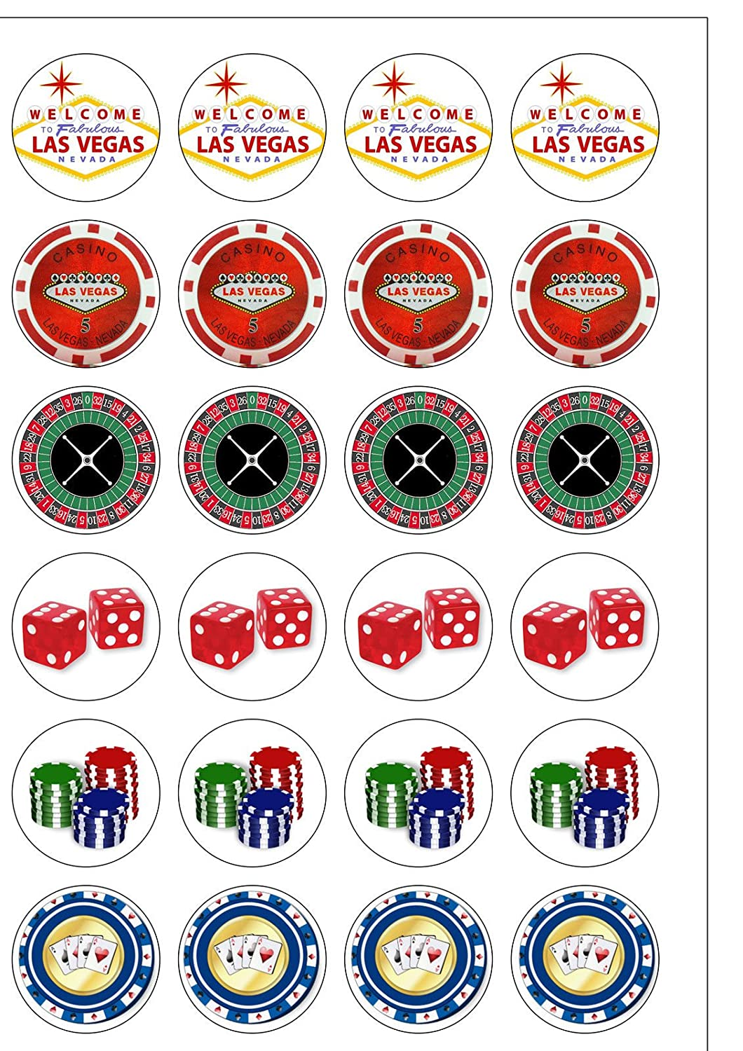 Las Vegas set casino cards dice cards nevada sign Edible Cake Topper Wafer Icing