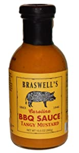 Braswell Sauce Barbeque Tangy Mustard, 13.5 oz