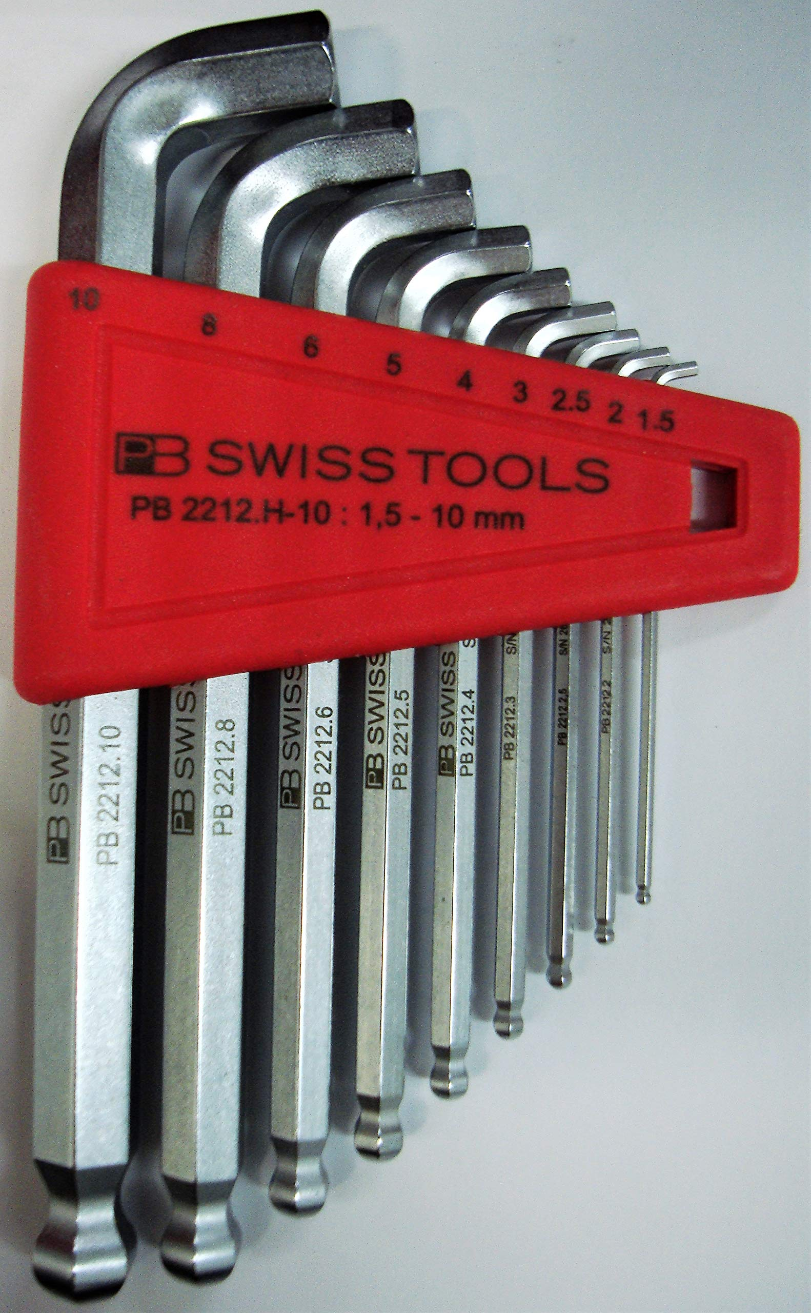 PB Swiss Tools PB 2212H-10 Hex Wrench Stubby Tip Ball-End Set, 58-60HRC Hardness