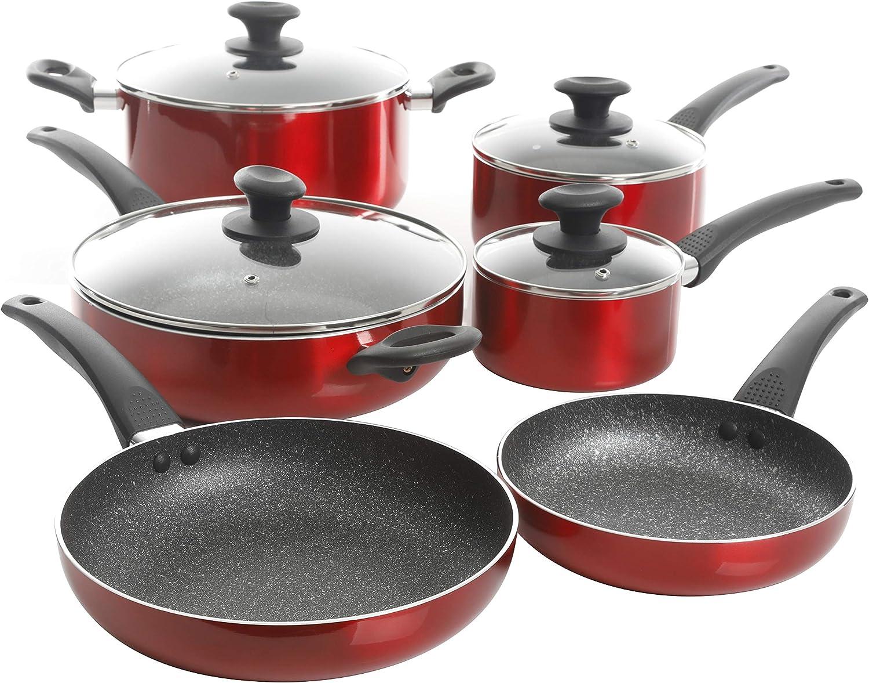 Oster 124952.10 Cookware Set, 10-Piece, Metallic Red