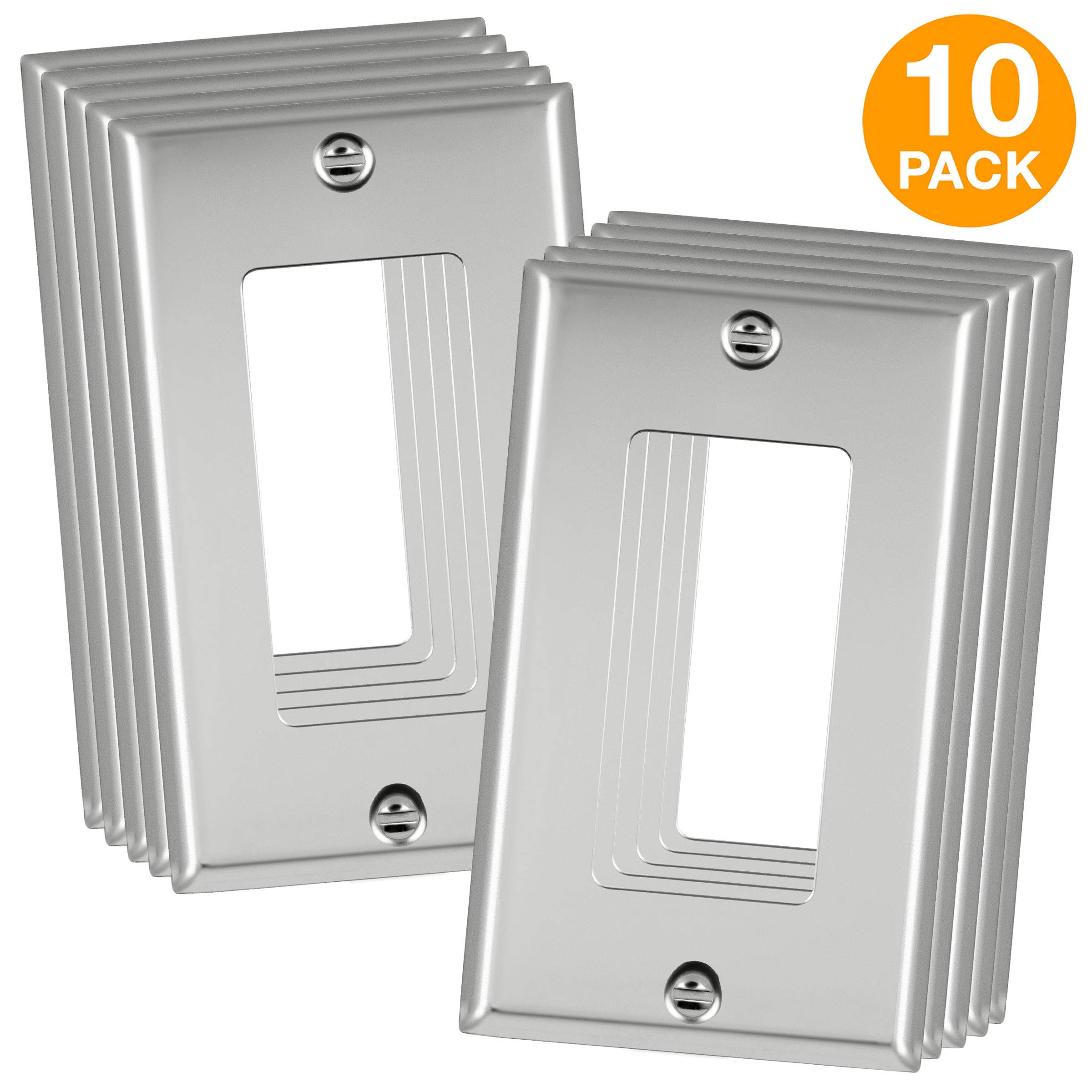 ENERLITES Decorator Switch/Outlet Metal Wall Plate, Corrosive Resistant, Size 1-Gang 4.50'' x 2.76'', 7731-PC-10PCS, 302 Polished Chrome (10 Pack)