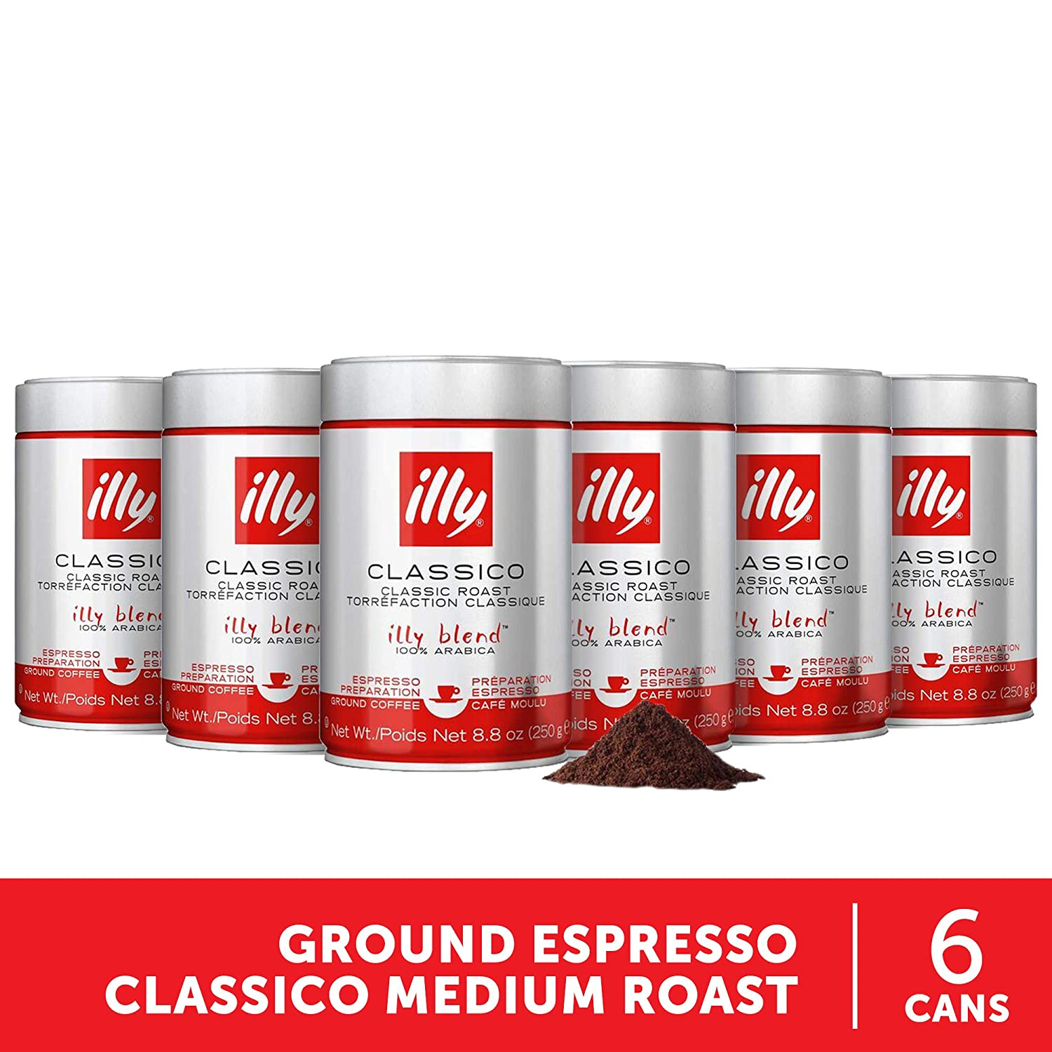 Illy Classico Ground Espresso Medium Roast 100 Arabica Coffee Blend Can 8 8 Ounce Pack Of 6 Grocery Gourmet Food