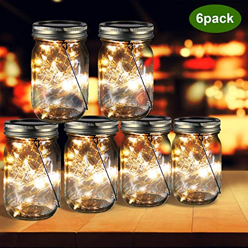 ZOUTOG Mason Jar Solar Lights, 30 LED Hanging Solar Lights Outdoor with Handle, Solar Lantern Lights for Patio Garden Yard and Lawn, 6 Pack – Jars Hangers Included