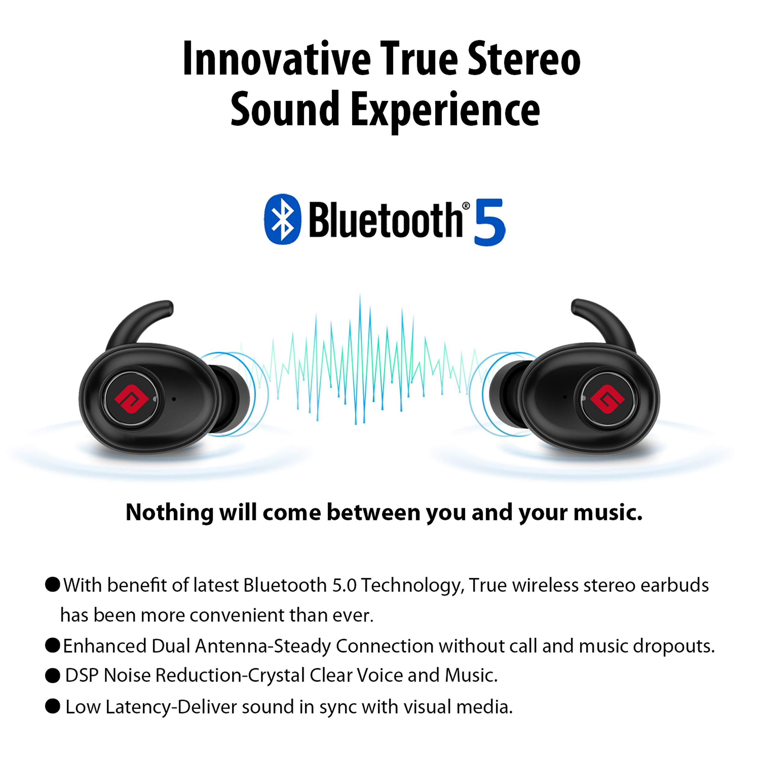 True Wireless Earbuds Bluetooth 5.0 Headphones, Sports in-Ear TWS Stereo Mini Headset w/Mic Extra Bass IPX5 Waterproof Low Latency Instant Pairing 15H Battery Charging Case Noise Cancelling Earphones by Geekee (Image #2)