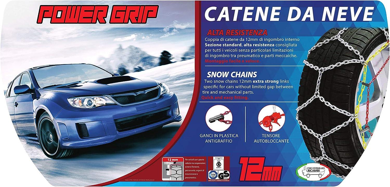 Catene Neve Power Grip 12mm Omologate Gruppo 130 pneumatici 235//55r17 12A130