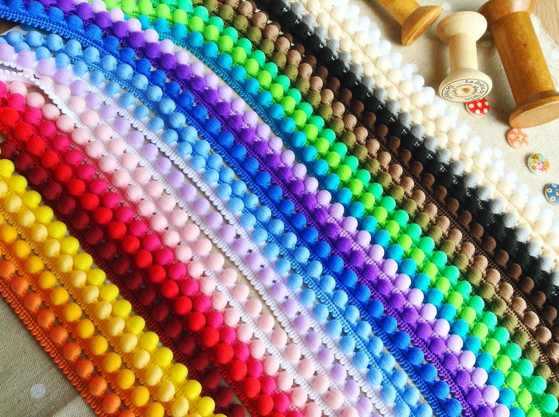 finiture di ottima qualit/à HomeBuy dimensioni: 10 mm x 1 m Passamaneria con mini-pompon colore: miele
