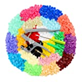 ilauke Snap Buttons 400 Sets 20 Colors with Snap Press Pliers T5 Plastic Snaps No-Sew Buttons Fastener Setter for Baby Cloth Diapers Bibs Rain Coat Crafting (Color: Clear)