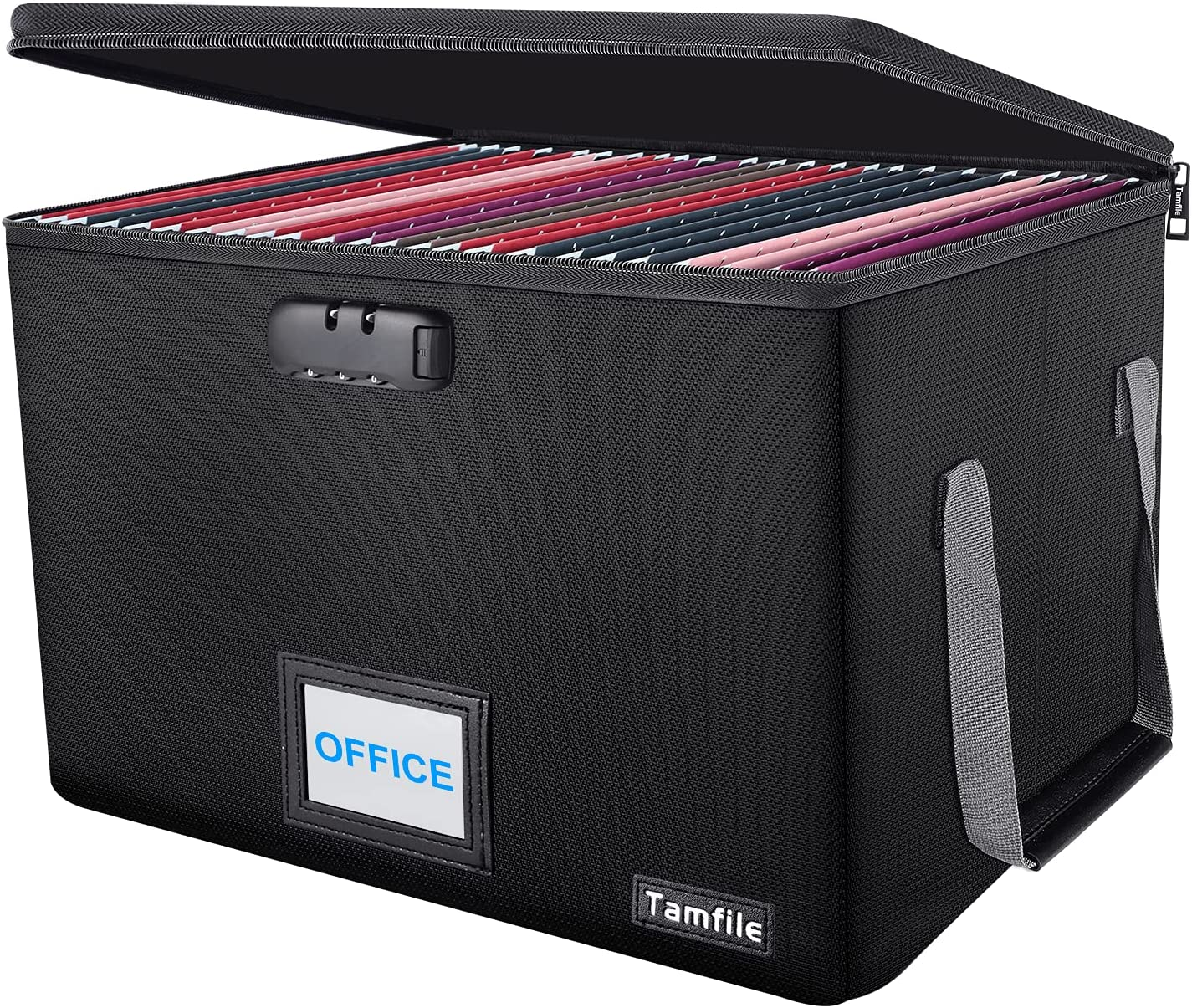 File Box, File Storage box, Tamfile Fireproof File Folder Boxes (1832℉) for Hanging Letter/Legal Filing, Document Organizer with Zipper Lock, Collapsible Office Document Storage Bin with Handle, Black