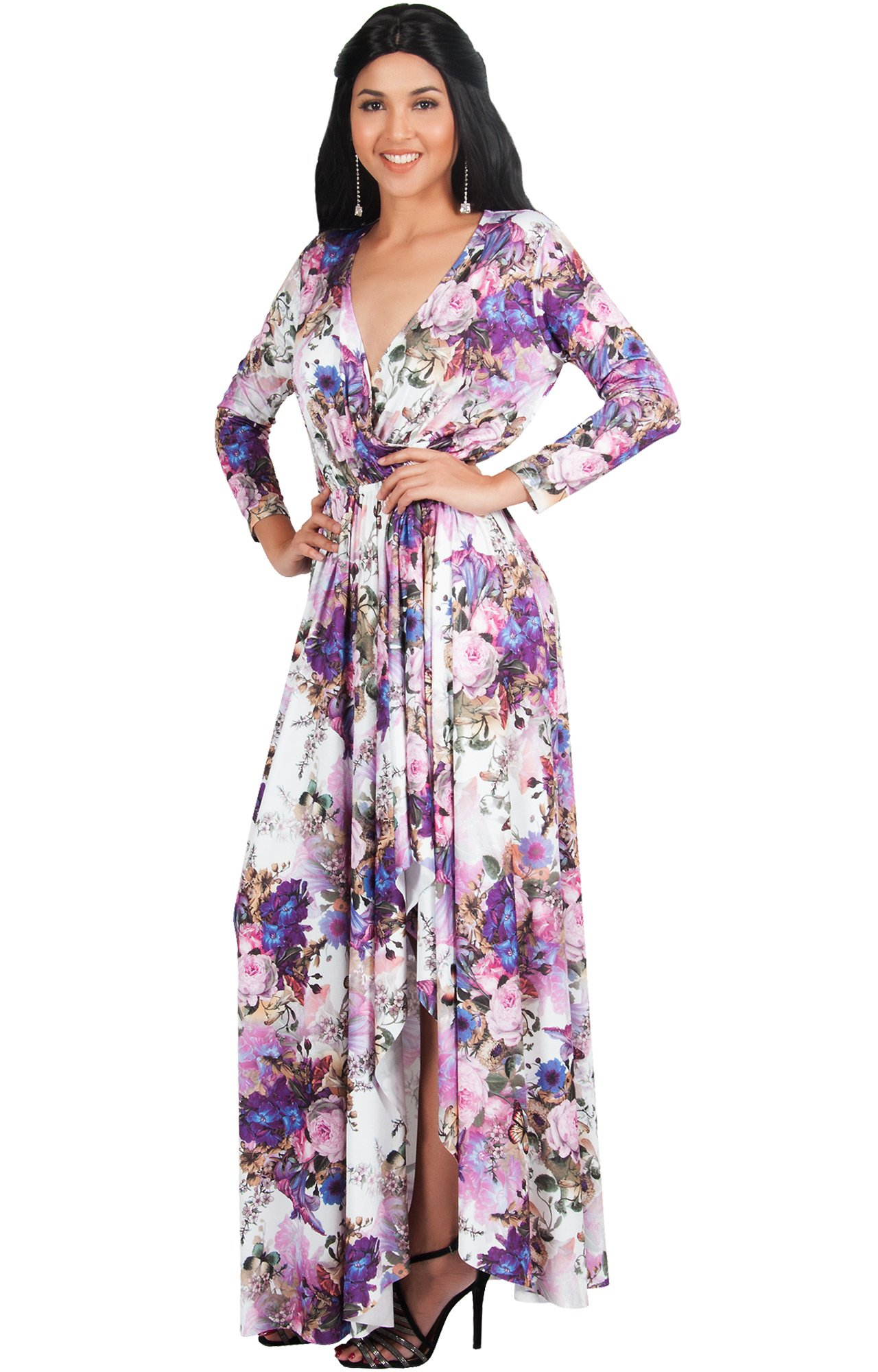 2be67a99cd6 KOH KOH Womens Long Sleeve Casual Elegant Floral Print Wrap Slit Gown Maxi  Dress