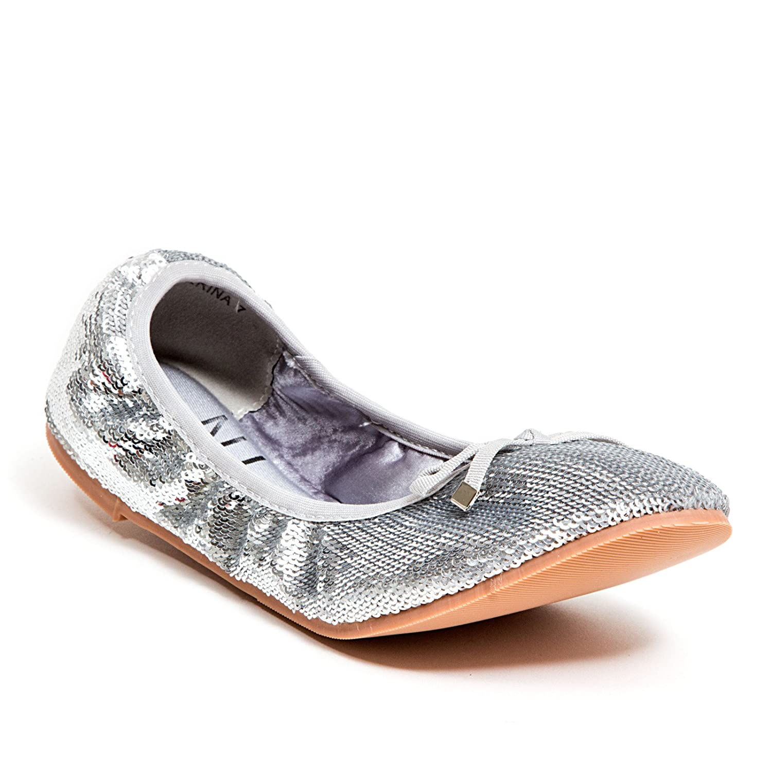 Lady Couture Ballet Flats with Bow Ninety Union Womens Shoes by Ballerina Silver 9