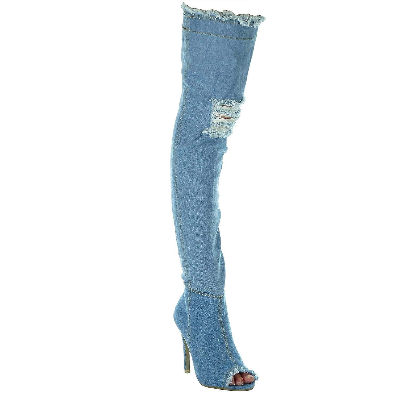 Angkorly - Damen Schuhe Oberschenkel-Stiefel - Jeans Denim - Stiletto - Sexy - Ausgefranst - zerrissene Stiletto 11 cm