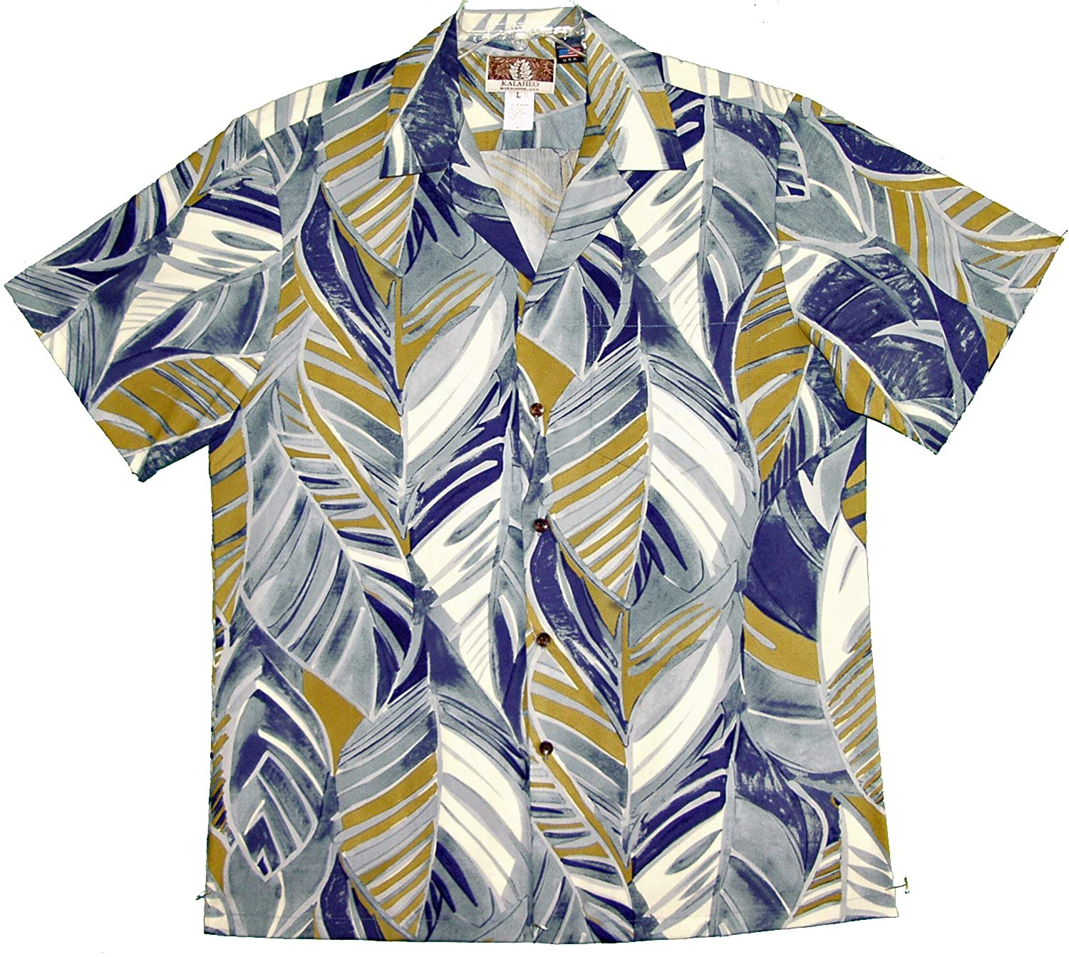 RJC Mens Abstract Watercolor Leaf Peached Cotton Blend Shirt