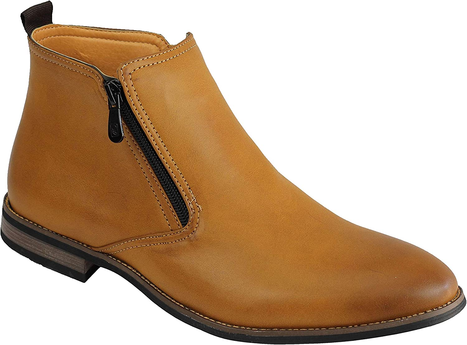 Mens Biker Smart Slip On Chelsea Ankle Retro Boots Casual Office Shoes Size UK
