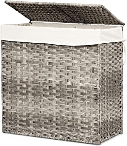 Giantex Laundry Basket Foldable Rattan Laundry Hamper W/Removable Washable Liner Bag, lid and Handles, Portable Rectangular Laundry Hamper for Bathroom Bedroom Balcony (Gray)