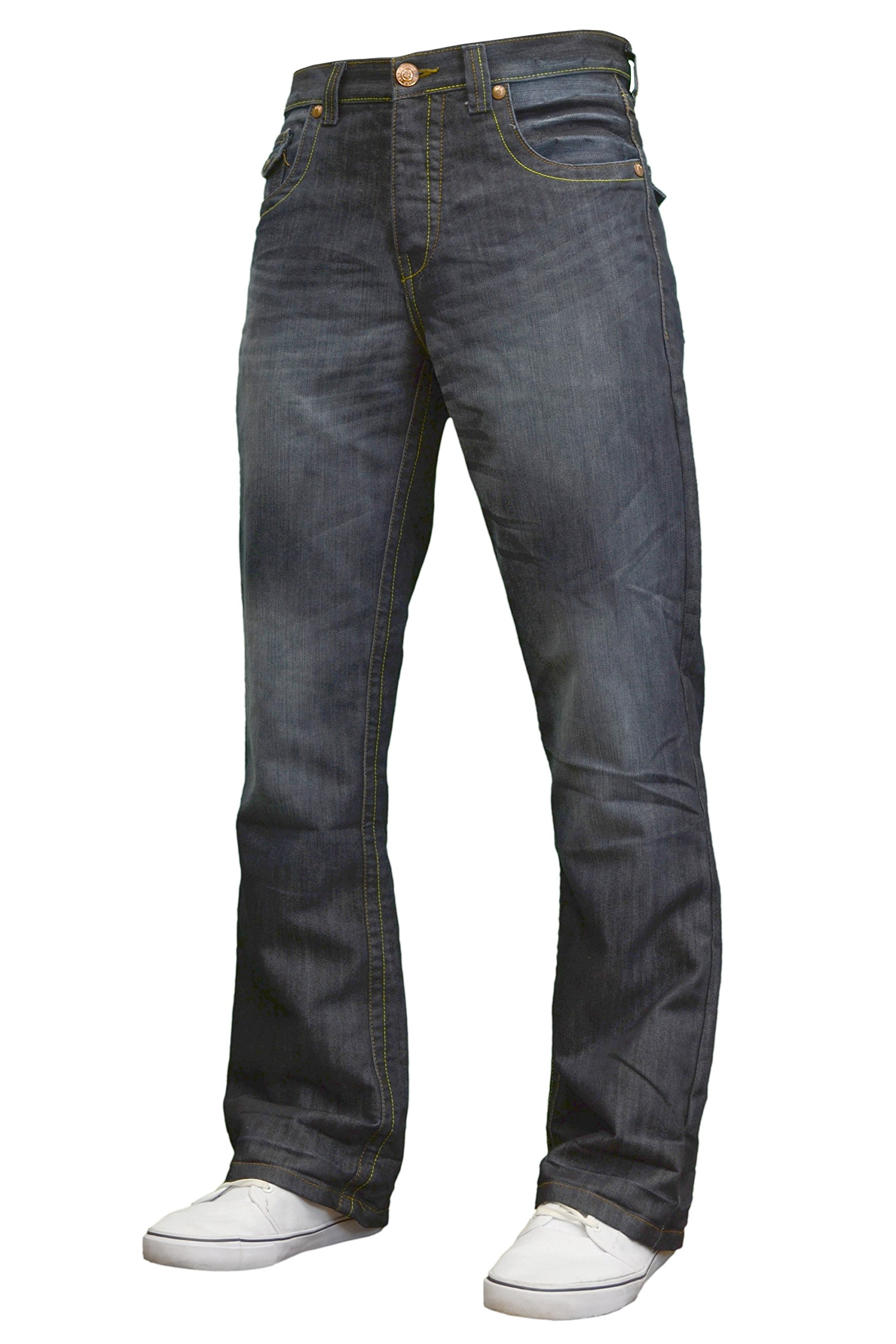 APT Mens Designer Branded Basics Regular Fit Bootcut Jeans, 28''-48'' (30W x 32L, Darkwash)