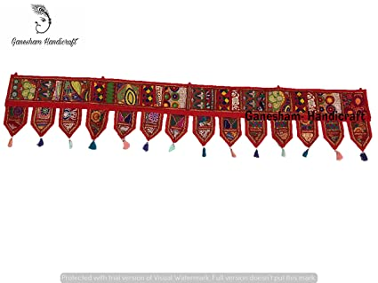 Indian Hippie Boho Bohemian Decor Cotton Ethnic Wall Hanging Wall Art Vintage Patchwork Door Valances Window Valances Hand Embroidered Patchwork Toran ''80''