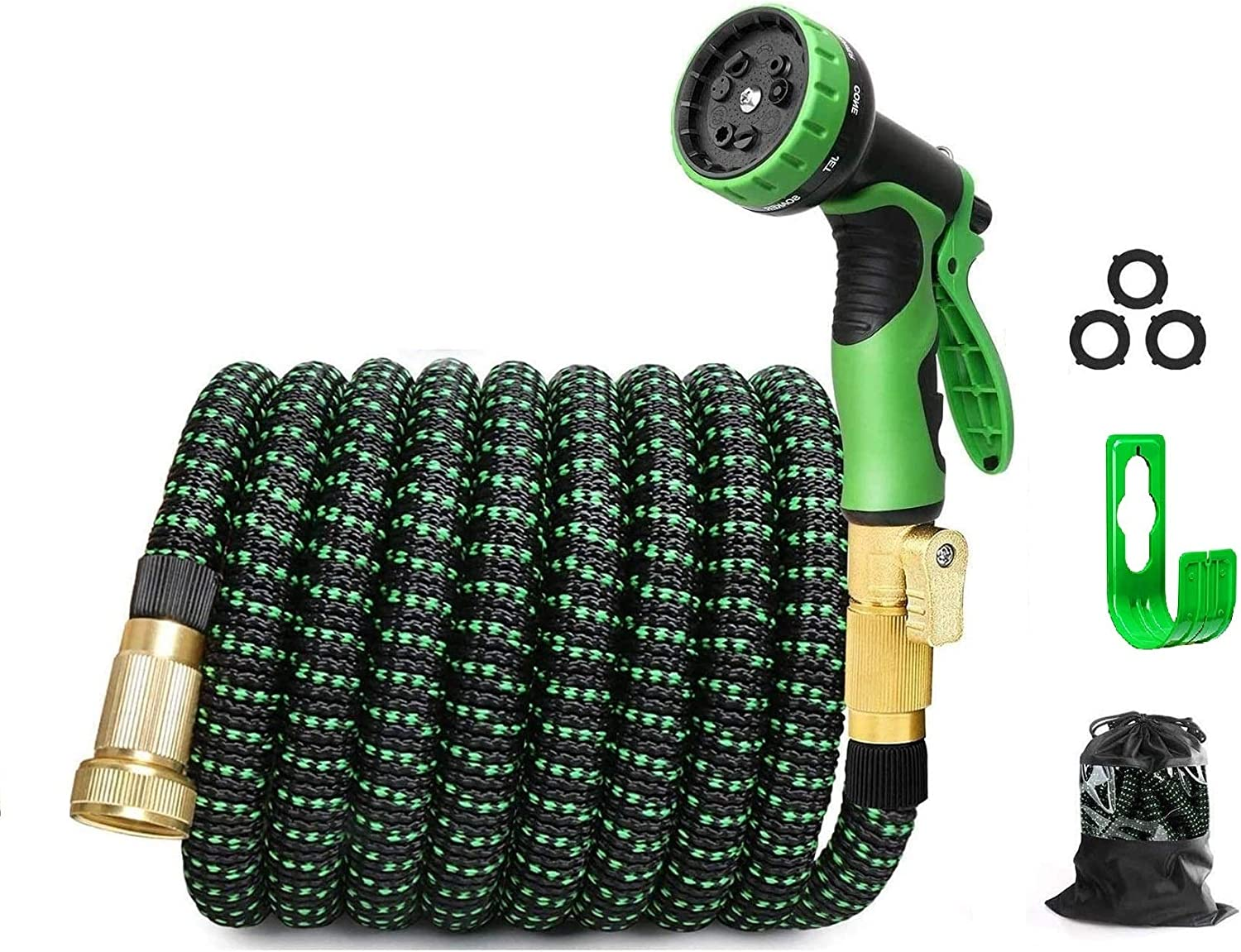 """MTB Upgraded Expandable Garden Hose,75-ft Extra Strength Fabric Garden Water Hose, with Spray Nozzle and 3/4"""" Solid Brass Fittings…"""