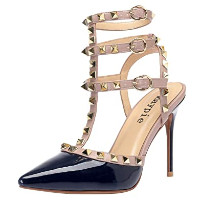 c2a8c45702 MAYPIE Studded Heels Women Sexy Pointed Toe Rivets Pumps Slingback Ankle  Strap Stiletto Sandals Shoes 3.94