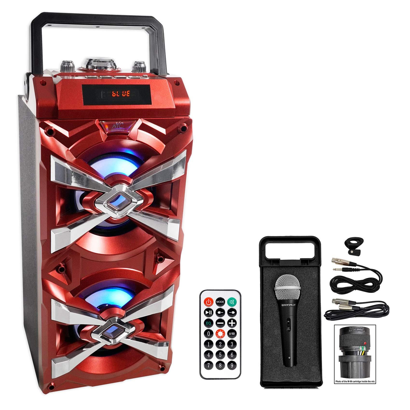 NYC Acoustics X-Tower Bluetooth Karaoke Machine System w/LED's+Microphone+Remote