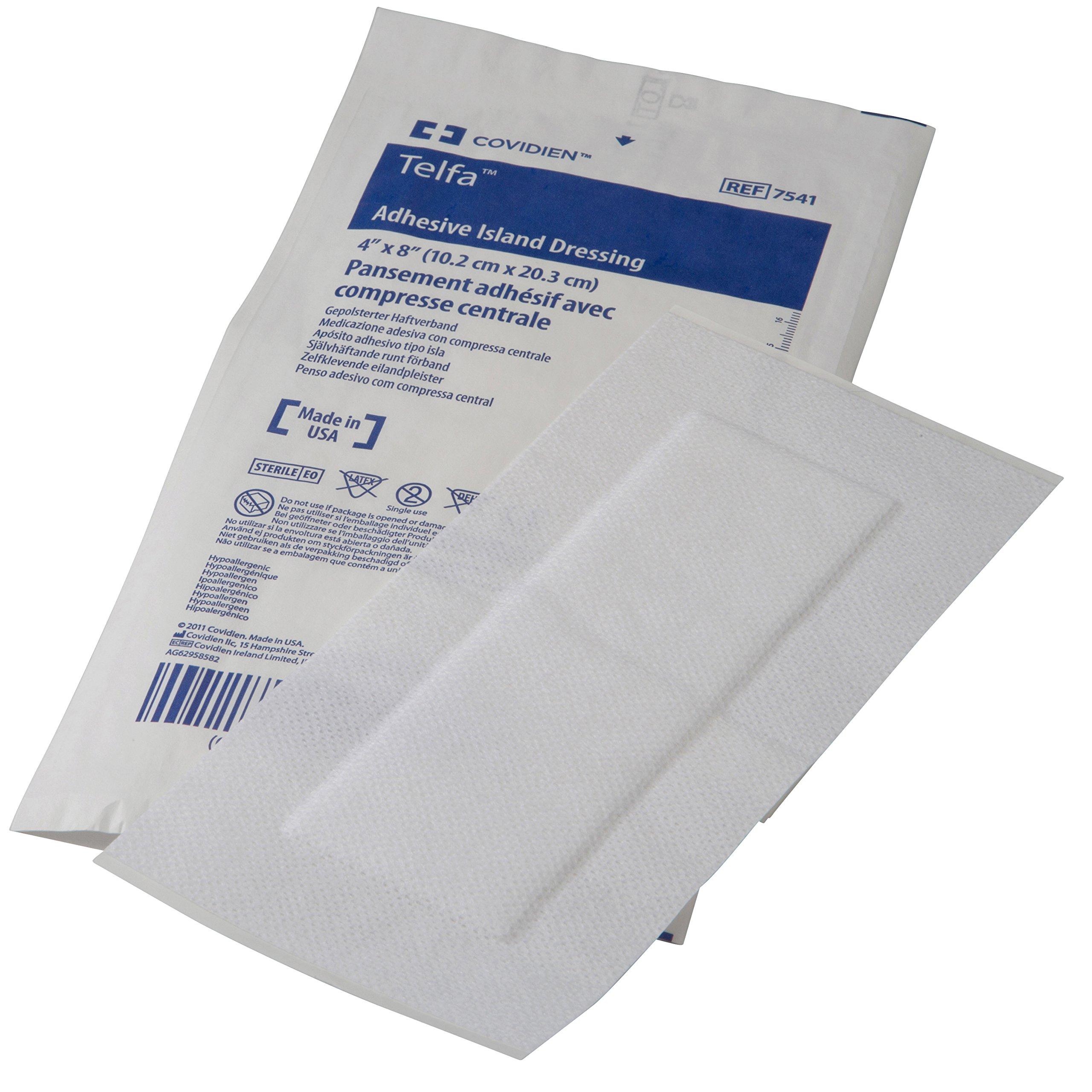 Covidien 7541 Telfa Adhesive Island Dressing, Sterile 1's in Peel-Back Package, 4'' x 8'' (Pack of 25) by COVIDIEN