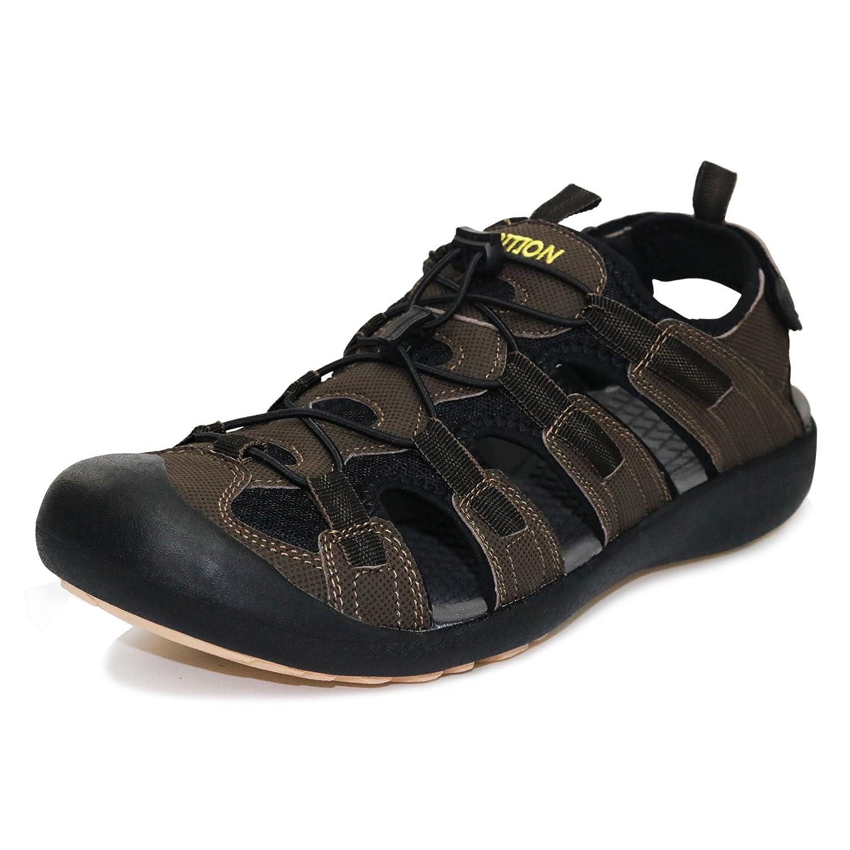 GRITION Herren Outdoor Sandalen Größe Sport Wandern Sandalen Schnell Trocken Toecap Sommer Schuhe Orange / Schwarz Braun / schwarz