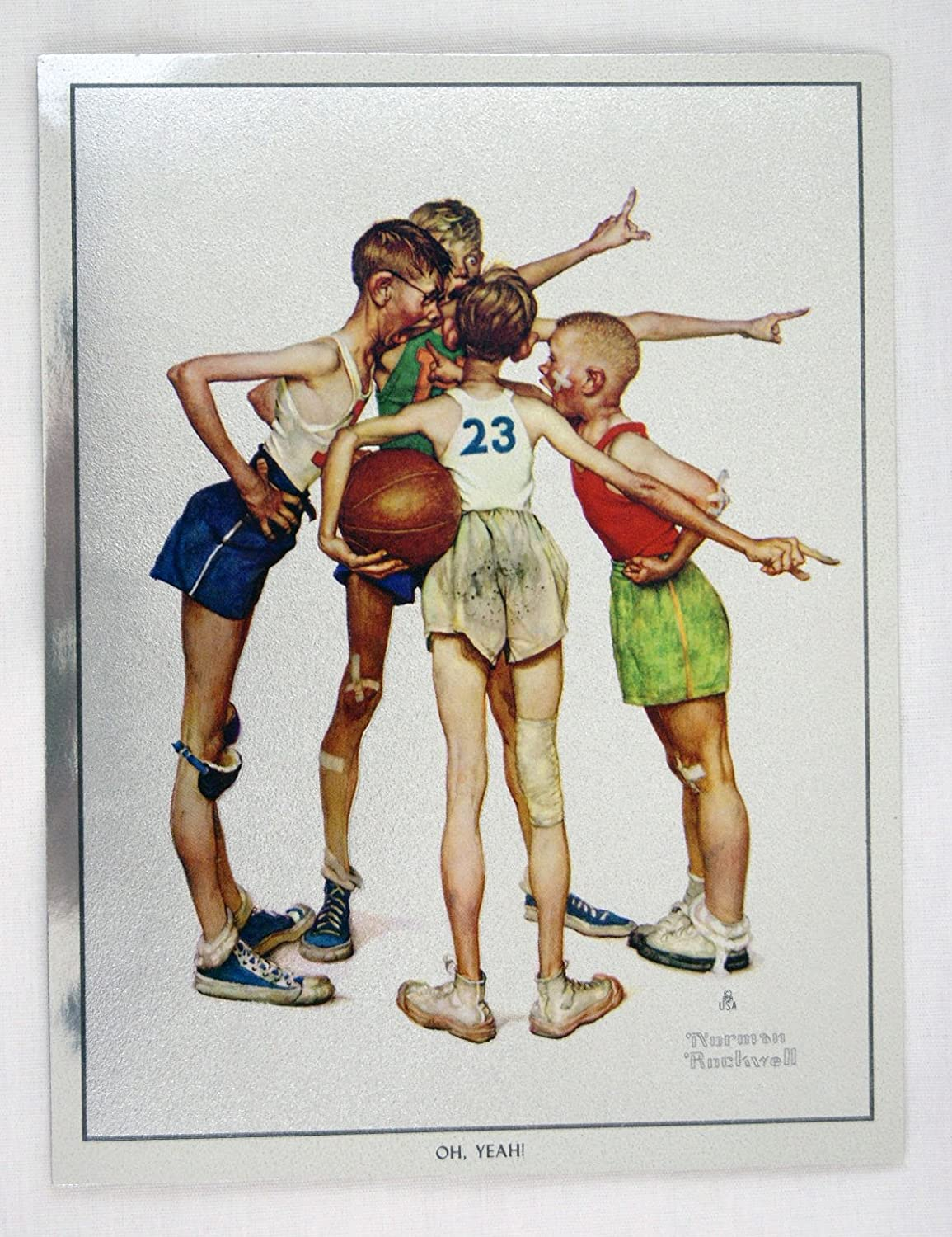 Vintage Norman Rockwell Oh Yeah Sporting Boys Basketball Foil Etch Print