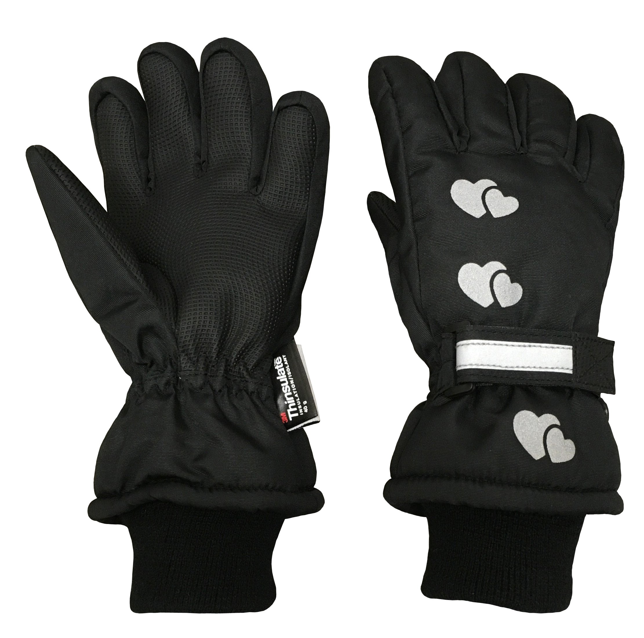 cedeb983b N'Ice Caps Girls Reflector Cute Hearts Waterproof Thinsulate Winter Gloves  product image