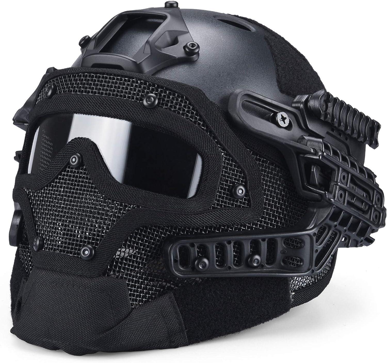paintball//tiro. M/áscara plegable de malla para airsoft con protecci/ón para los o/ídos y gorra de b/éisbol ajustable para CS//caza