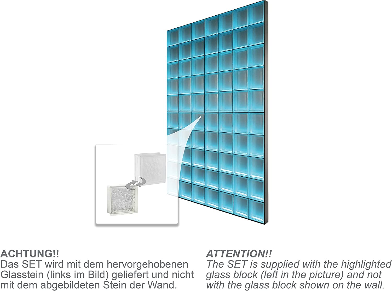 LMW Light My Wall pinzette pared de ladrillo de vidrio de ladrillos de vidrio en el formato 19 x 8 cm tamaño total: 136.5 x B 195,0 cm: Amazon.es: Bricolaje y herramientas