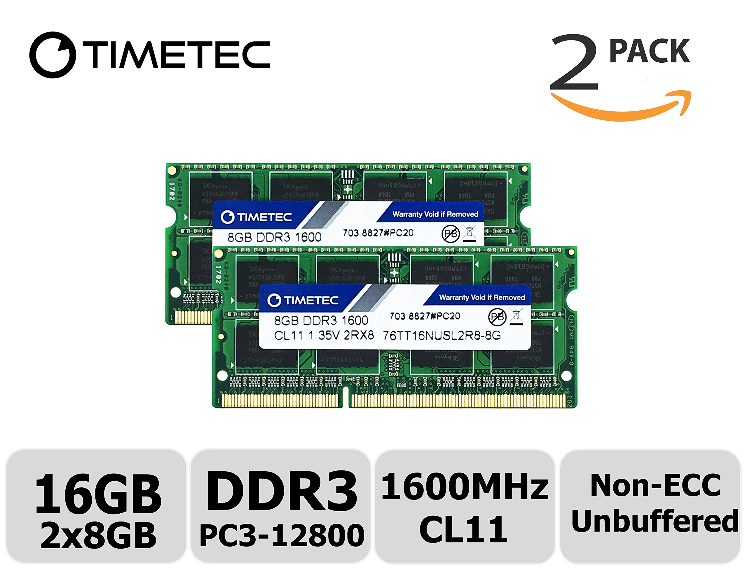 Timetec Hynix IC 16GB Kit(2x8GB) DDR3 1600MHz PC3-12800 Non ECC Unbuffered 1.35V CL11 2Rx8 Dual Rank 204 Pin SODIMM Laptop Notebook Computer Memory Ram Module Upgrade(16GB Kit(2x8GB))