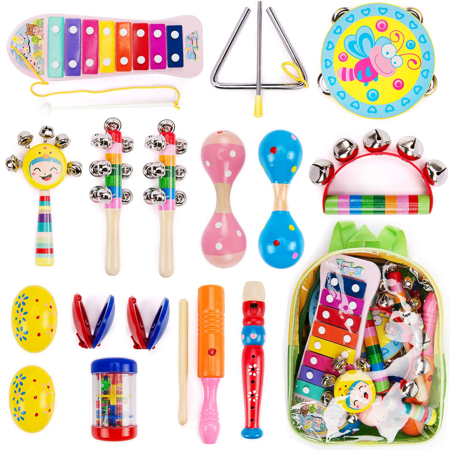 Amagoing Toddler Musical Instruments, 16Pcs Wooden Percussion Instruments Toy Activity Center for Preschool Educational, Musical Toys Set for Boys and Girls with Storage Backpack