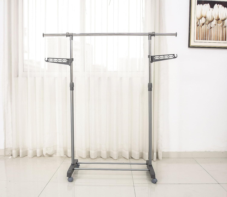 logei® Perchero de ropa perchero enrollable extensibles estante perchero armario telescópica plegable ruedas soporte Secadora, gris