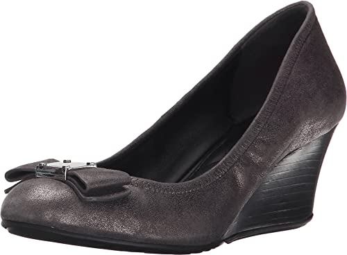 371c6598190 Cole Haan Women s Tali Grand Bow Dark Silver Metallic Suede Shoe ...