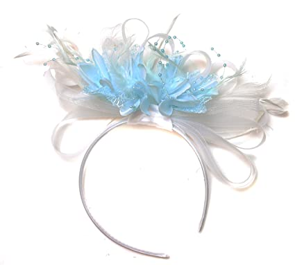White and Baby Blue Fascinator Light Net Feather Hair Headband ... b8900b4320d
