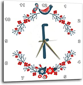 3dRose Monogram Initial Letter F with a red and Blue Floral Wreath and. - Wall Clocks (DPP_336873_2)