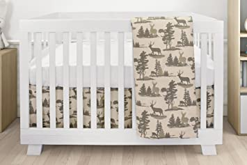 Schön Bebelelo Baby Crib Bedding For Girls And Boys, Green And Beige Deer Design,  4