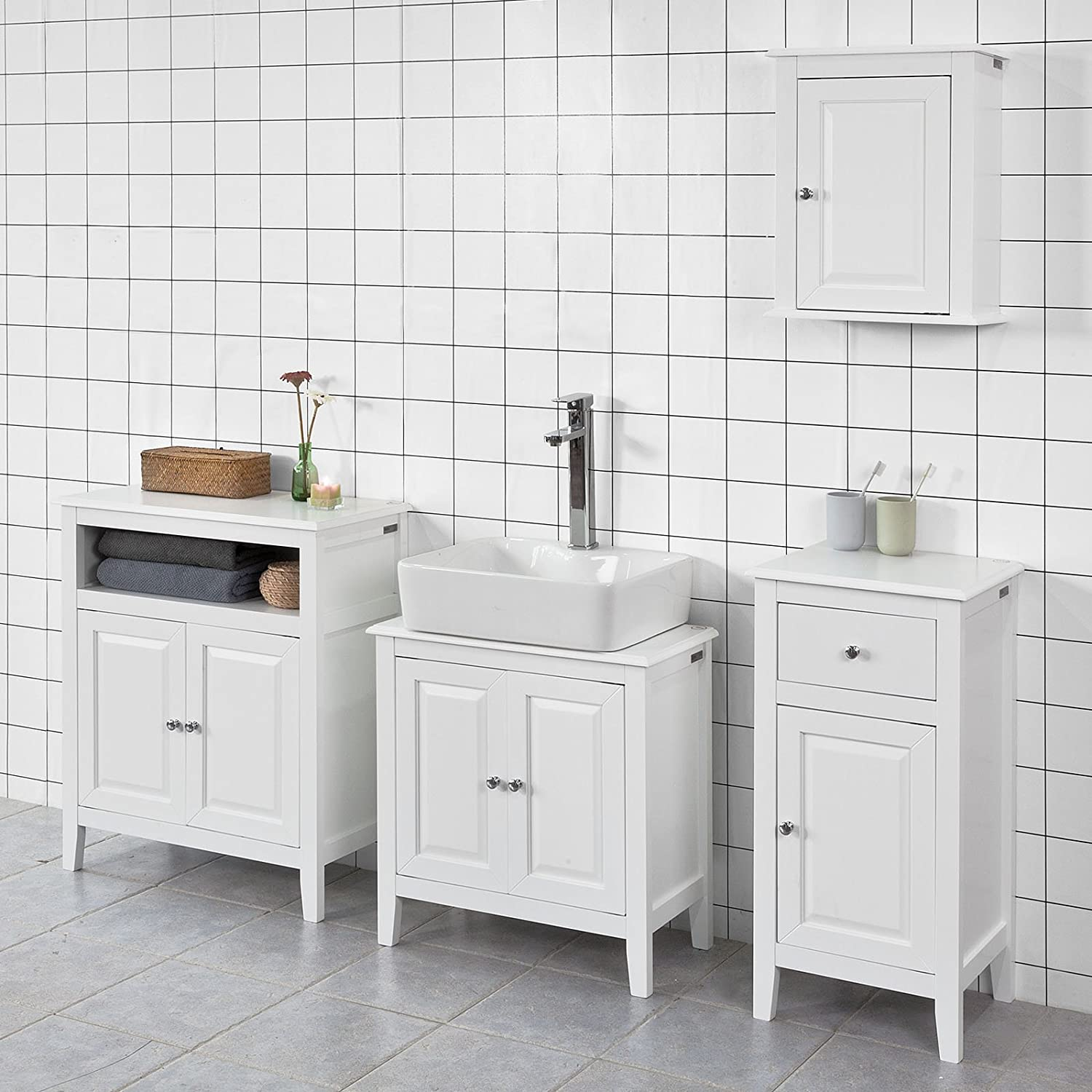 Haotian White Floor Standing Tall Bathroom Storage Cabinet with ...