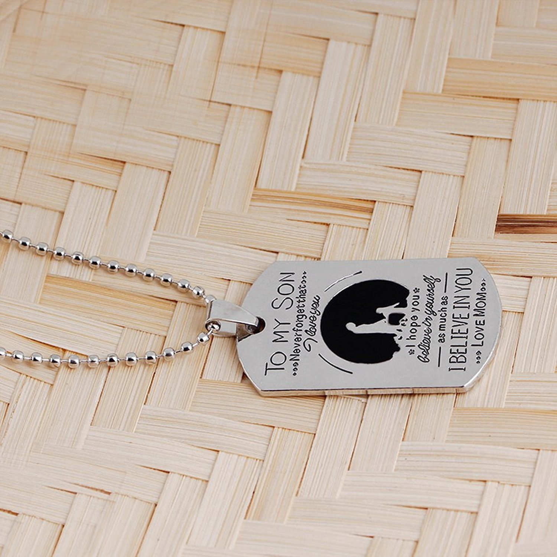 """Mutter-Sohn-Halskette Blerameng Kette mit Dog Tag mit englischer Aufschrift /""""To MY Son.../"""""""