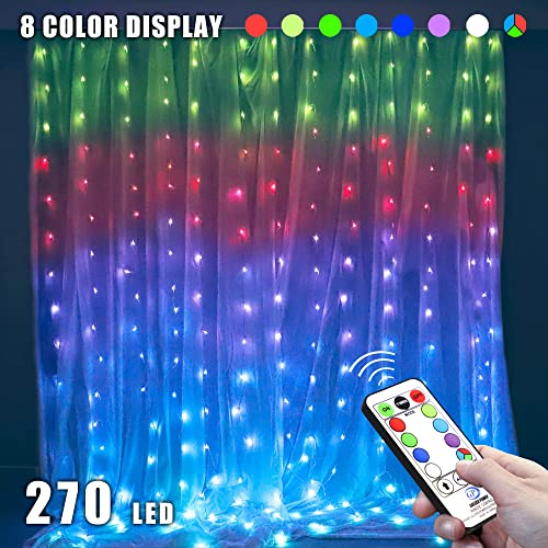 MYGOTO 8 Vibrant Color Change Curtain String Lights,9.8×9.8feet 270Led RGB Icicle Fairy Lights,52 Modes with Remote,Plug in Xmas Lights with 6V Safe Voltage 270LED, RGB