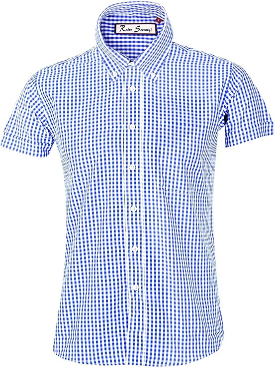 60s 70s Men's Clothing UK | Shirts, Trousers, Shoes Mens Retro Gingham Check Short Sleeve Button Down Shirt RRP £29.99 £14.99 AT vintagedancer.com
