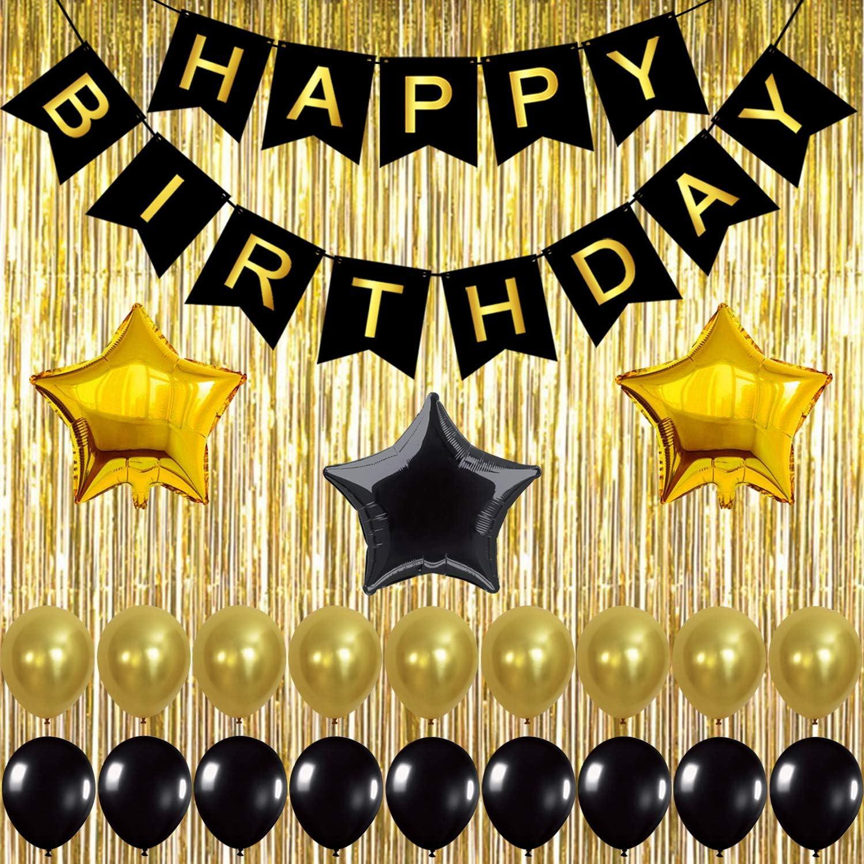 Amazon.com: KATCHON 032 Black Decoration Kit, Gold Metallic Fringe Shiny  Curtains, Happy Birthday Banner with Latex & Star Foil Balloons, 1: Kitchen  & Dining