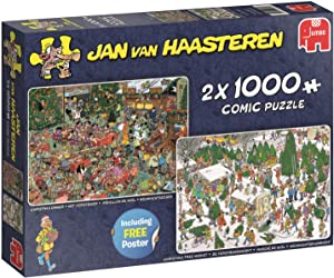 Jan Van Haasteren Christmas Gifts 2-in-1 Jigsaw Puzzles ( 2 x 1000 Pieces)