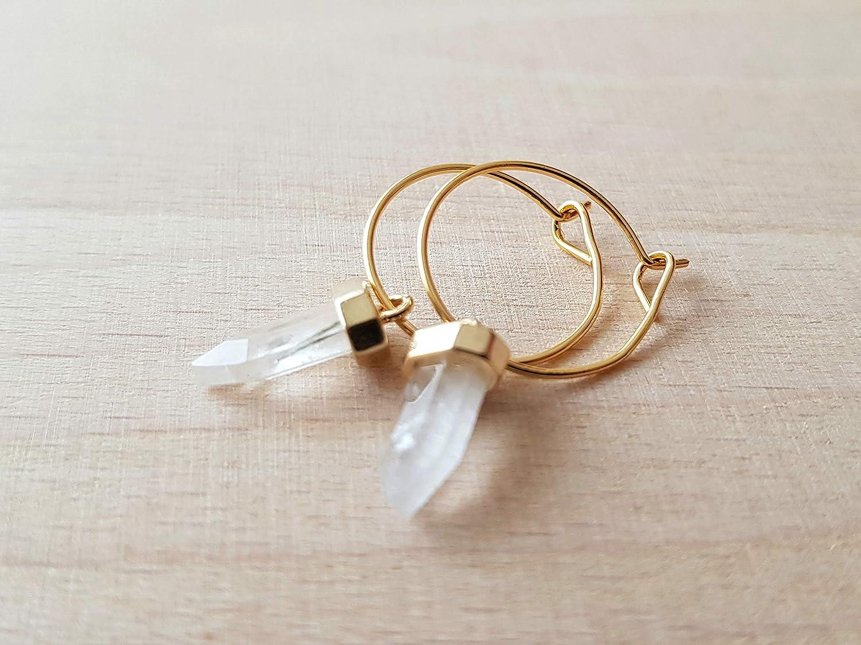 Mini pendientes de aro con encanto de piedra de cuarzo - boho jewelry woman