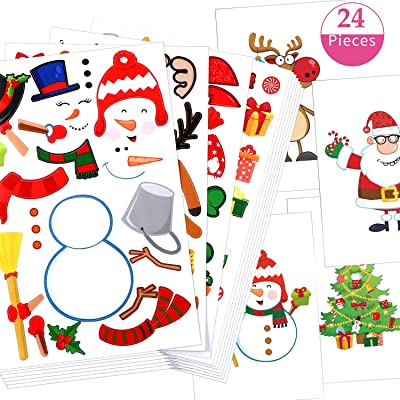 24 Christmas Party Games Mix and Match Stickers for Kids Christmas Theme Party Favors, Fun Craft Project for Children Snowman Elk Santa Claus Christmas Trees Sticker Game Favorite Christmas Stickers: Toys & Games