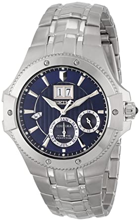 Seiko Coutura Kinetic Perpetual Blue Dial Stainless Steel Mens Watch SNP069