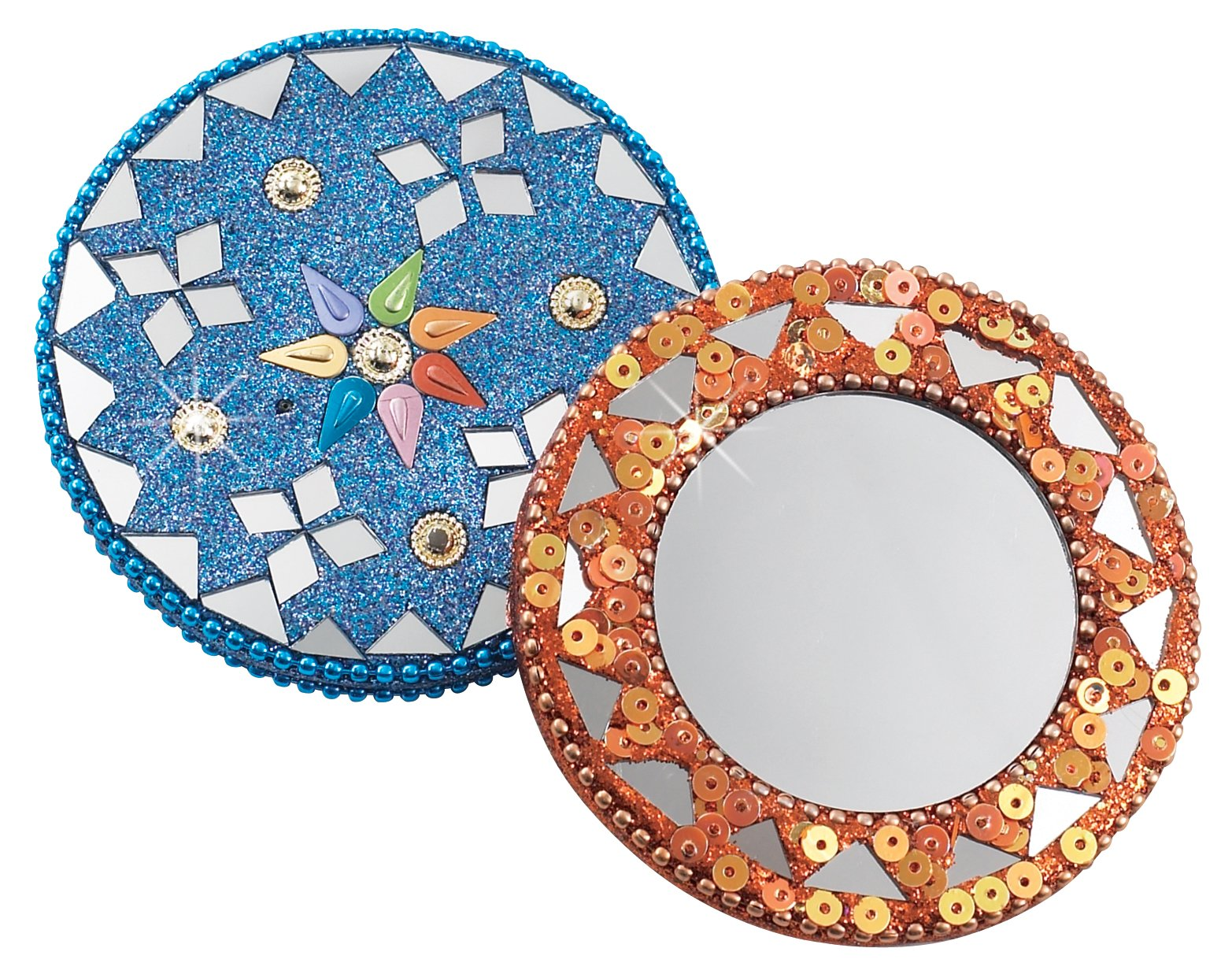 Mirrored Compacts, Set of 2 Handheld Round Compacts with FREE Carrying Pouch, Great Size for Purse or Backpack