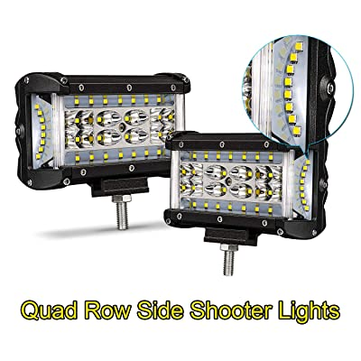 LED Pods, Yvoone-Auto 2Pcs 5 Inch Dually Sided Side Shooter Quad Row LED Fog Lights Work Light Driving Fog Light Bar for Jeep Truck ATV SUV UTV Boat: Automotive