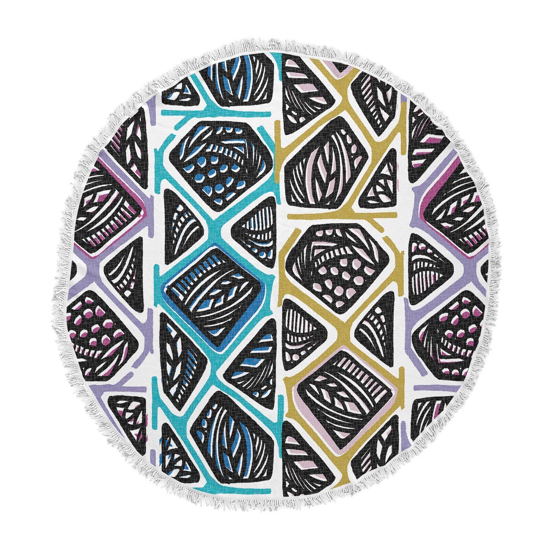 Kess InHouse Gill Eggleston African Summer Black Blue Tribal Ethnic Vector Digital Round Beach Towel Blanket