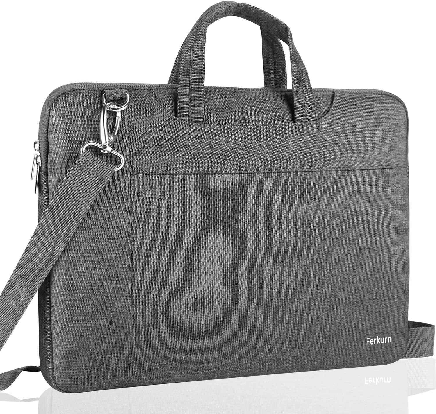 """Ferkurn 17 Inch Laptop Sleeve Waterproof with Handle Protective Shoulder Bag Notebook Computer Case Compatible with MacBook 17""""/ Acer 17.3""""/ ASUS/HP/Dell/Toshiba/Samsung/Sony/Microsoft,Gray"""