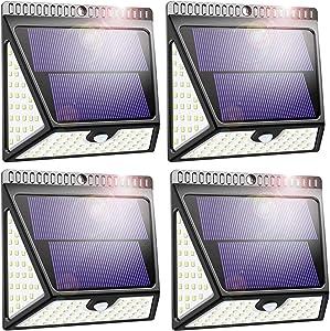 ZOOKKI Solar Motion Lights, 82LED Wireless Security Solar Lights Motion Sensor, IP65 Waterproof Solar Wall Light , Solar Outdoor Lights for Fence Yard, Deck, Garage, Driveway, Storage 4 Pack